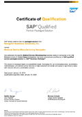 SAP Qualified Certificate of Medical Device Partner-Packaged Solution