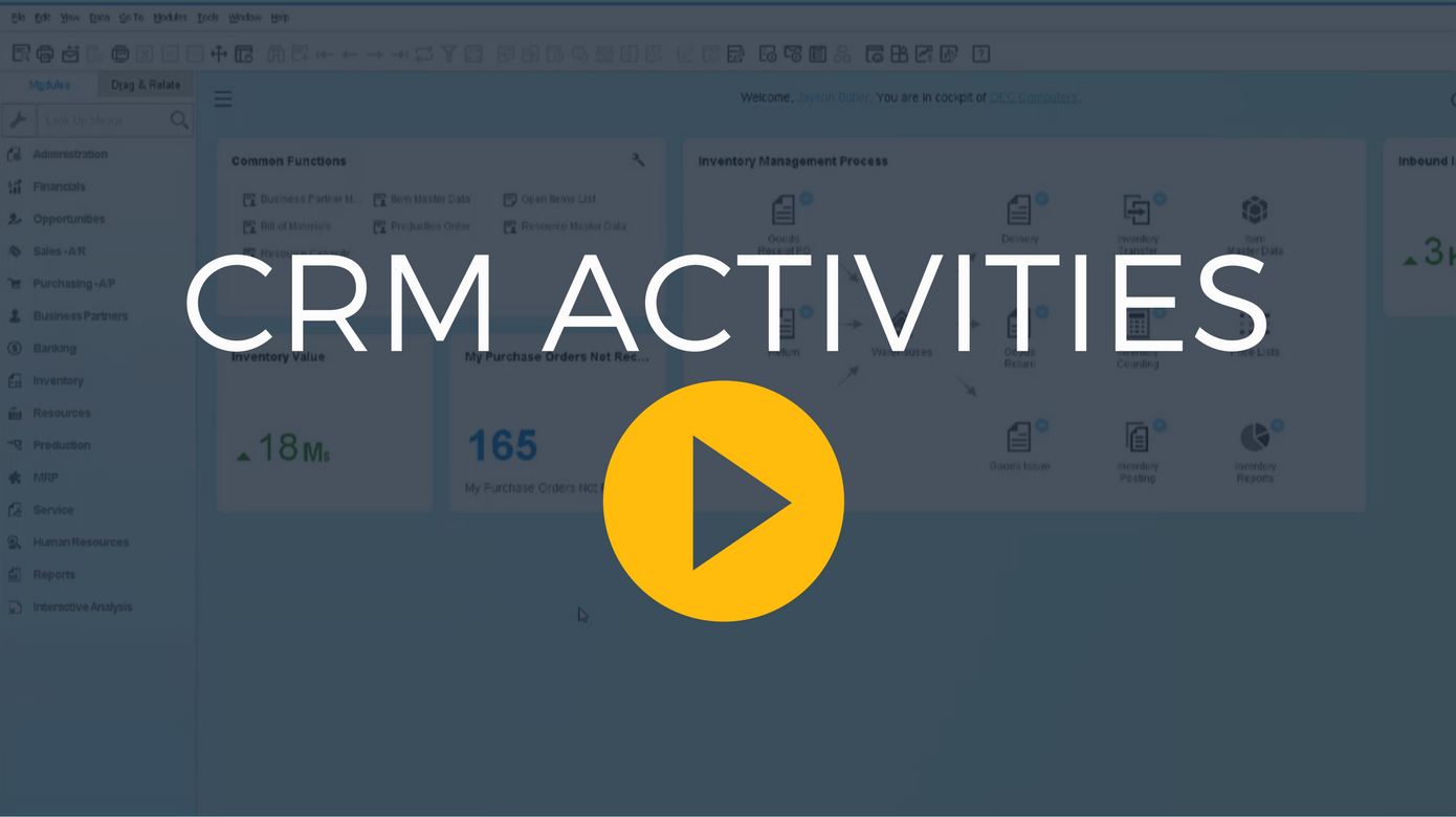 Business One Video CRM Activities